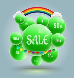 green balls sale banner vector image vector image