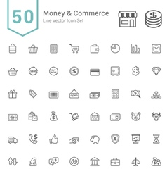 Money and Commerce Line Icon Sets vector image