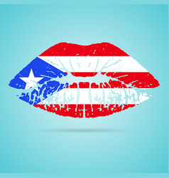 puerto rico flag lipstick on the lips isolated on vector image vector image