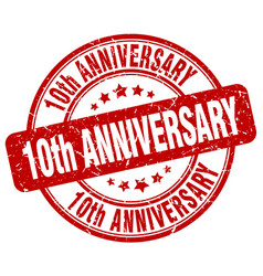 10th anniversary red grunge stamp vector