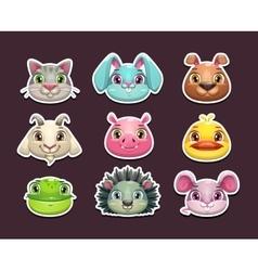 Cute cartoon animal face icons set vector image vector image