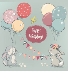 Cute hares with balloons vector
