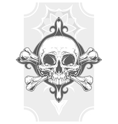 Grey human skull with two bones tattoo vector image