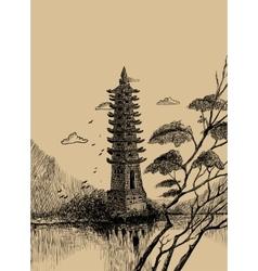Pagoda-sketch vector image