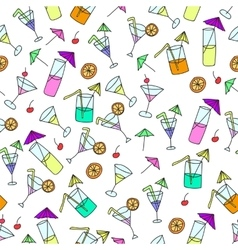 Seamless pattern of hand drawn cocktails vector image