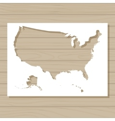 stencil template of USA map on wooden background vector image