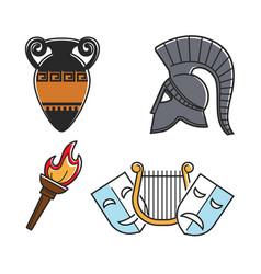 ancient greek culture symbols isolated cartoon vector image