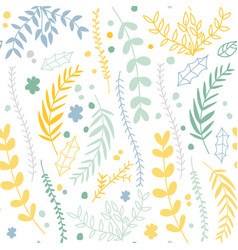 floral seamless pattern with linear plants and vector image vector image