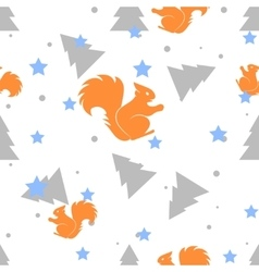 Forest squirrel and fir tree white seamless vector