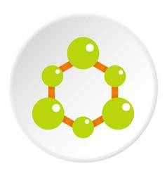 green molecule structure icon circle vector image vector image