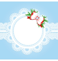 lace round frame with christmas decorative bow vector image vector image