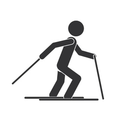 monochrome silhouette with man ski over snow vector image
