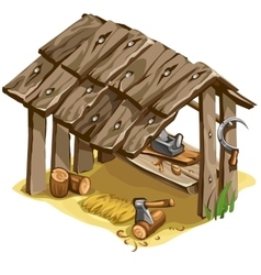 Workplace of woodman or carpenter isolated vector image