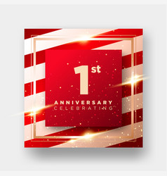 1 year anniversary celebration card 1st vector image