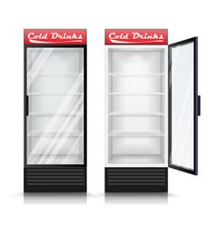 3d realistic refrigerator glass door vector