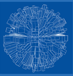 Abstract 3d sphere with city blueprint style vector