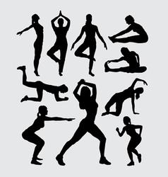 Aerobic women fitness sport silhouettes vector