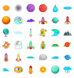 Astronomy icons set cartoon style vector