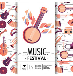 Banjo and instruments to music festival event vector