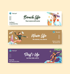 Banner template with surfboards at beach design vector