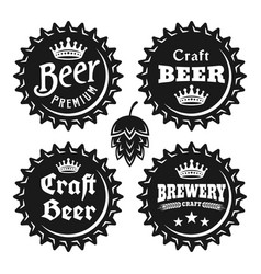 beer caps with text black vintage objects vector image