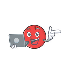Bowling ball character cartoon with laptop vector