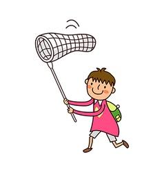 Boy holding fishing net vector