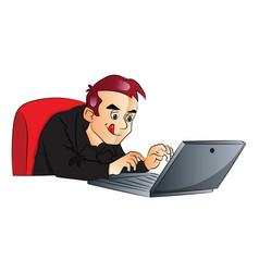 Businessman using laptop vector