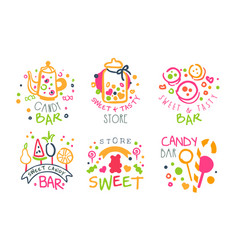 candy bar logo templates set sweet and tasty vector image
