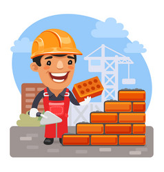Cartoon bricklayer at construction site vector