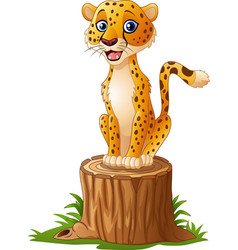 cartoon cheetah sitting on the tree stump vector image