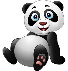 cartoon funny panda sitting isolated on white back vector image