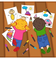 Children draw on floor vector