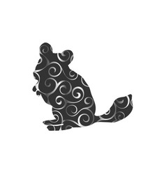 Chinchilla pet rodent color silhouette animal vector