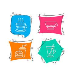 coffee cup bombon coffee and hamburger icons tea vector image