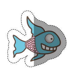 Color fun fish carucature icon vector