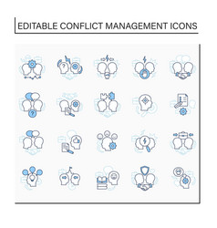 Conflict management line icons set vector