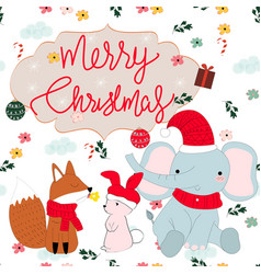 cute animal cartoon merry christmas seamless vector image