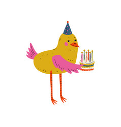 Cute bird character holding birthday cake with vector