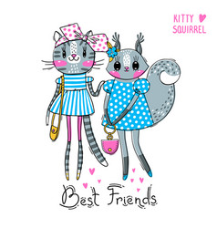 Cute card with best friends fashion girls baby vector