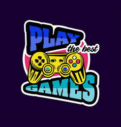 Cute game logo patch with play games lettering vector