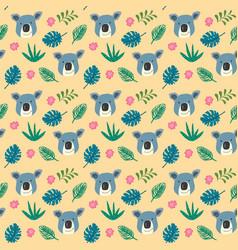 cute koala and tropical plants seamless pattern vector image