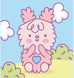 cute pink adorable bunny sitting in grass clouds vector image
