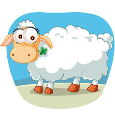 cute sheep chewing a lucky clover cartoon vector image