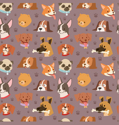 Dogs cute pets heads avatar face seamless pattern vector