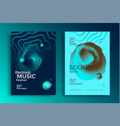 electro music festival poster with abstract lines vector image