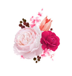 Elegance flowers bouquet color roses and tulip vector