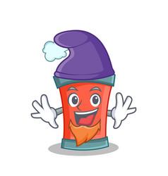Elf aerosol spray can character cartoon vector