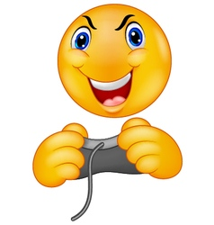 Emoticon smiley playing video game vector