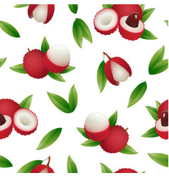 Exotic lychee fruit seamless pattern vector